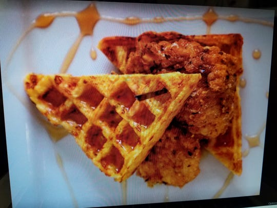 Banjo's food truck chicken and waffles.