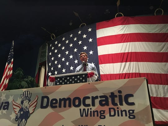 U.S. Rep. Eric Swalwell, D-Calif., addresses the Iowa Democratic Wing Ding in Clear Lake on Friday.