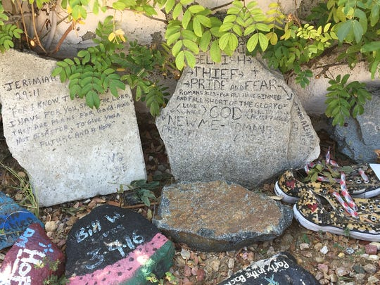 The addiction graveyard created by clients at iRecover Addiction Treatment Centers in Cathedral City.