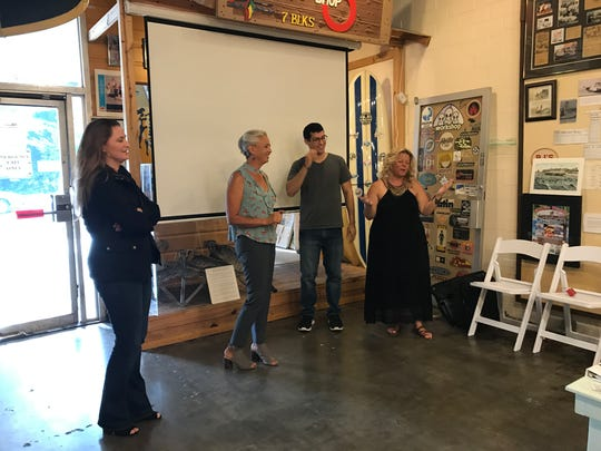 Suzanne Weinert (from left) Tracee Beebe, Michael Quintana and Michelle Randolph Faires talk about film production in Corpus Christi Aug. 10 2017 at the Texas Surf Museum.