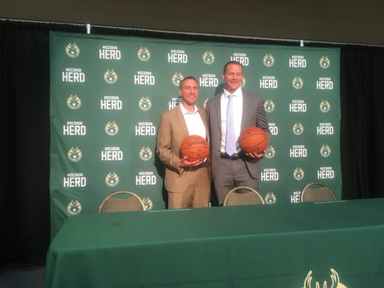 Wisconsin Herd introduced David Dean (left) as the team's general manager and Jordan Brady as the team's head coach at a press conference at the Oshkosh Convention Center on Friday.