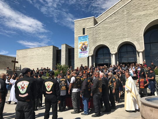 Hundreds of motorcyclists gathered to say their last goodbyes to Juan Martinez Jr.. at St. Mark's Catholic Church.