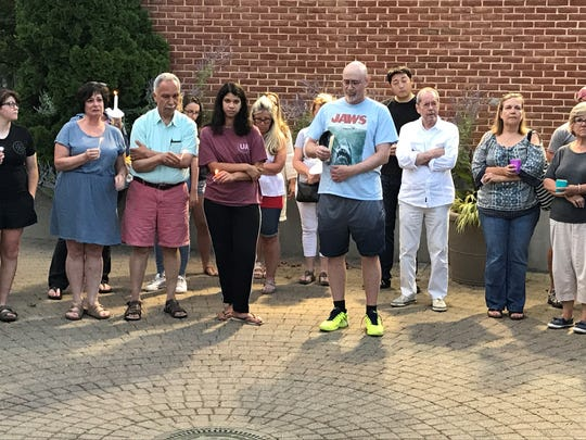 About 80 people gathered in Tenafly on Sunday evening for a candlelighting to show solidarity with Charlottesville, Virginia.
