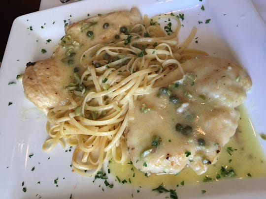 The chicken piccata  was a lemony delight, with just enough capers and sufficient sauce to make fresh pasta even better.