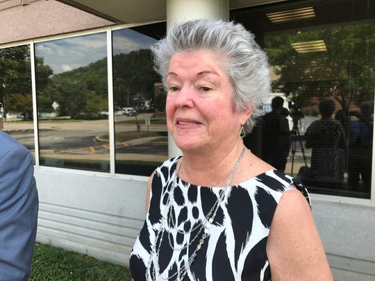 Pat Byron, mother of Mary Byron, speaks to reporters Monday following a victim impact hearing of the Kentucky Parole Board.