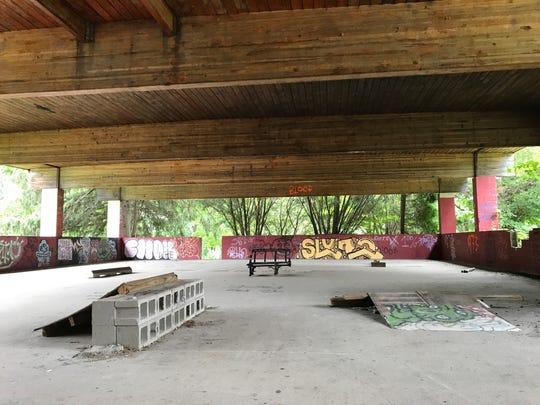 Local skateboarders have created a homemade skate park