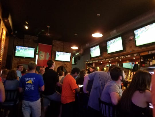Patrons watch the FC Cincinnati game at Rhinehaus.