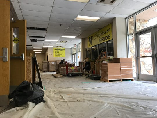 The West Milford High School auditorium lobby holds