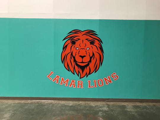 The Lamar Lion inside the elementary school's gym.