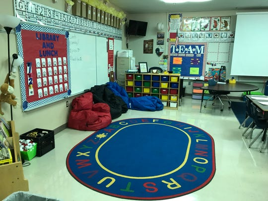 Brandi Drinnon's first-grade classroom at Lamar Elementary has education on its floor.