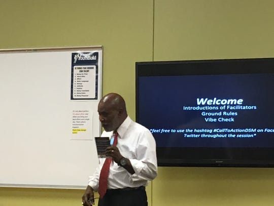 NAACP Des Moines President Arnold Woods Jr. talks about the organization's mission during a Black Lives Matter gathering in the Evelyn K. Davis Center for Working Families on Thursday.