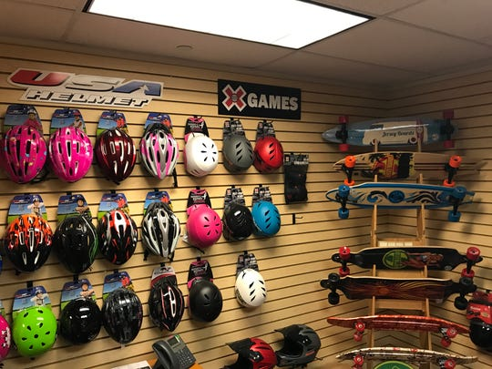 Bicycle accessory products on display in the Parsippany