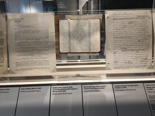 Letters, diary entries and sketches comprise the exhibit