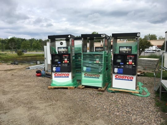 Gas pumps await installation at Costco in Colchester on Aug. 19, 2017.