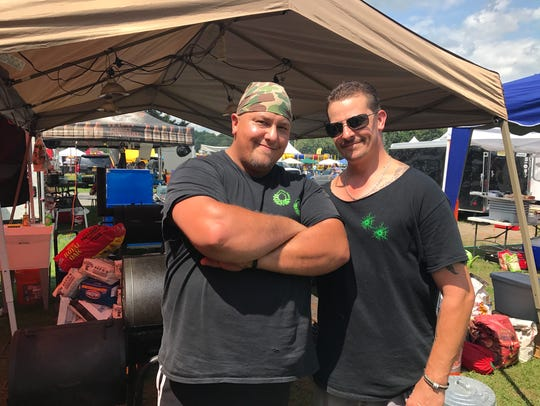 Jay and Nick Nazak, of Smokin' Double Barrels, compete