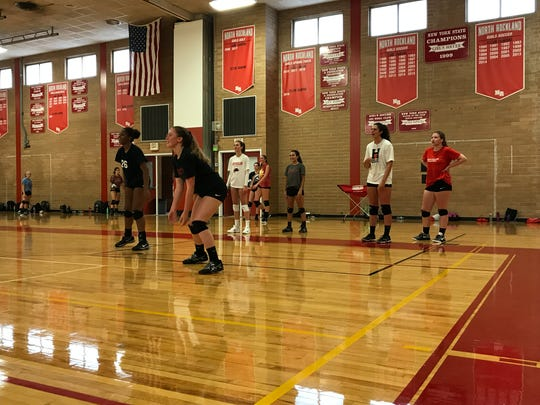 North Rockland volleyball players practice at North