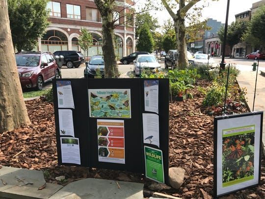 Signs educate visitors about pollinators at the garden