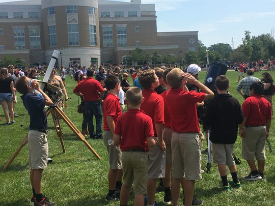 About 750 local students in grades K-8 visited University of Southern Indiana's campus for the solar eclipse.