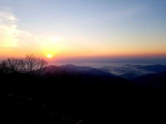 The sunrise view from Wayah Bald in Nantahala National Forest the morning of the eclipse.