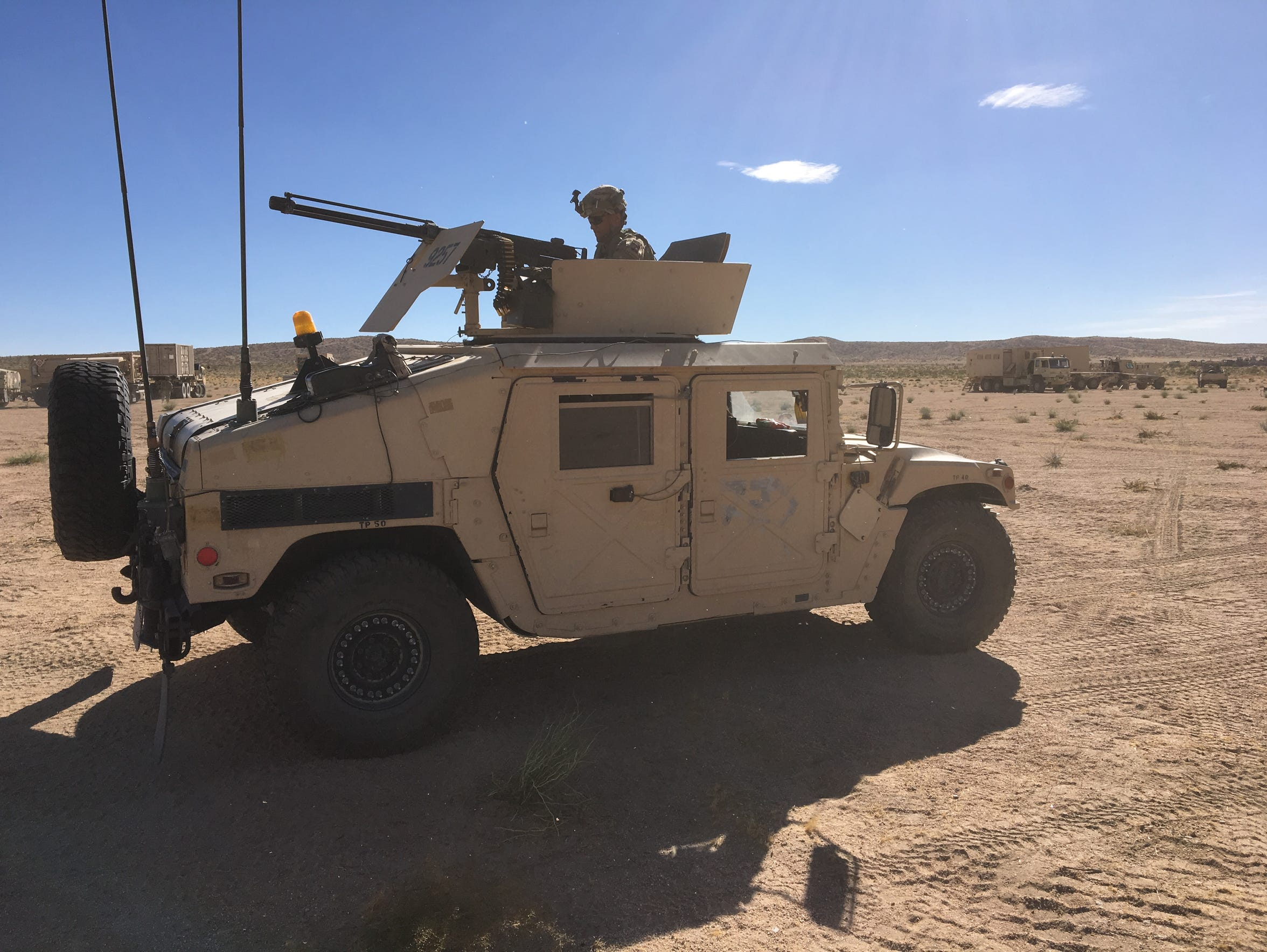 A soldier provides security at NTC during the realistic