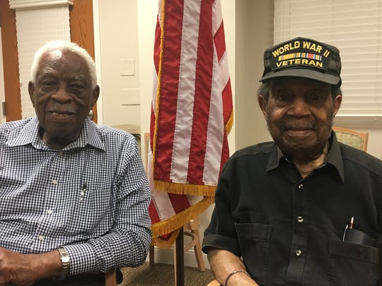 World War II veterans of the 92nd Infantry Division, Benjamin Stewart (left) and Alden Small (right), both live in Tinton Falls.