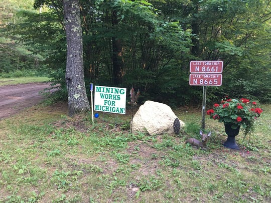 A pro-mining sign on a residential property on the Michigan side of the Menominee River.