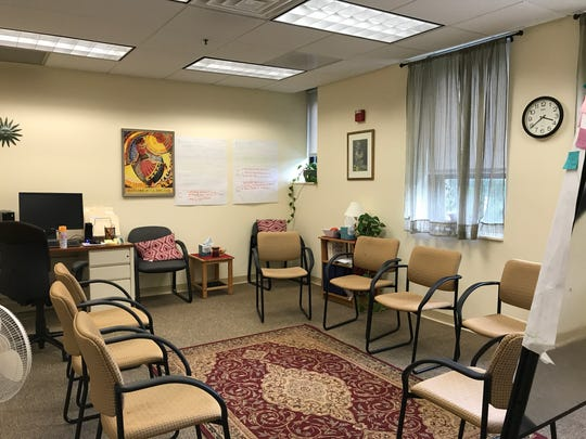 A room for group counseling at Montclair State University's Counseling and Psychological Services department.
