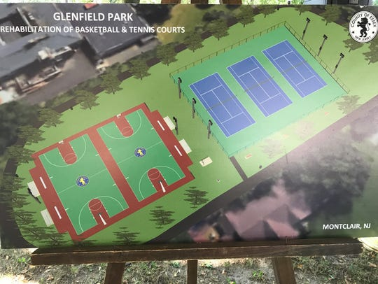 A rendering of the future basketball and tennis courts