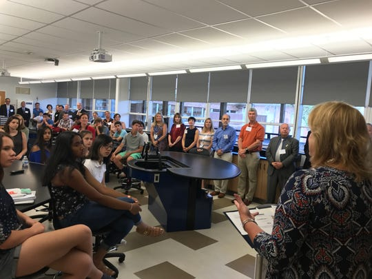 Mountain Lakes School district Superintendent Anne Mucci speaks to students, teachers, administrators and biotechnology professionals for the  public introduction of the academy, which was founded in partnership with the Morris County Vocational School District. August 24, 2017