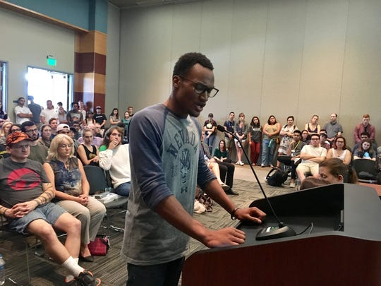 UNR student Trisden Shaw talks during public comment at a meeting at the Joe Crowley Student Union on Aug. 23, 2017.