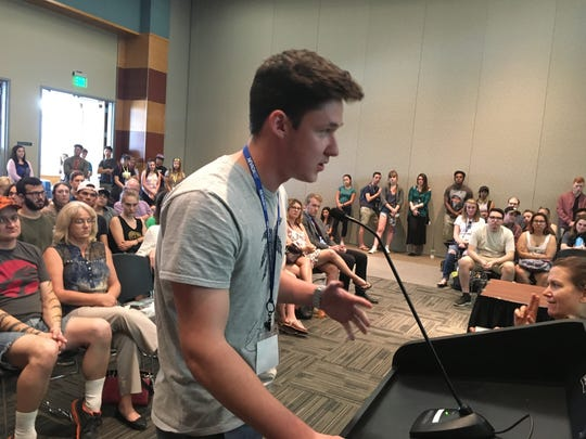 UNR Freshman Andrew McKinney spoke during public comment at a meeting at the Joe Crowley Student Union on Aug. 26, 2017.