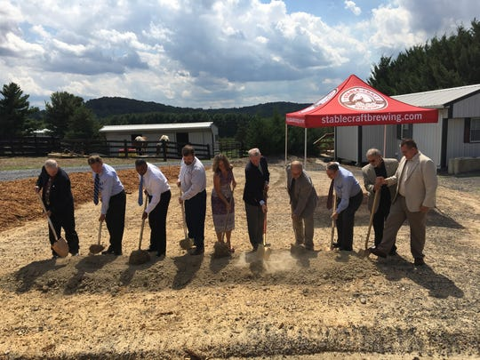 Local and state officials break ground at Stable Craft Brewing outside of Waynesboro.