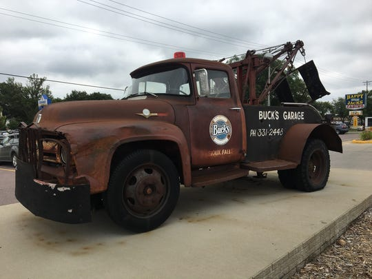 The tow truck that sits outside of Borrowed Bucks Roadhouse.