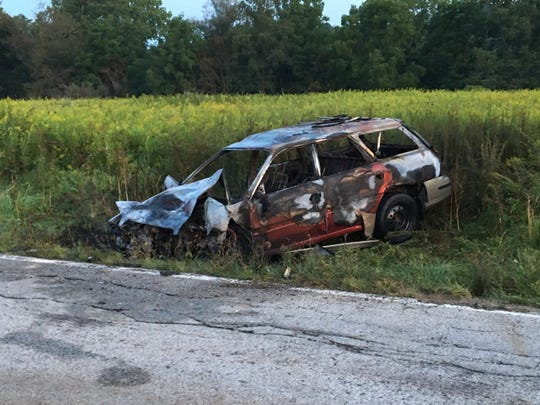 A red Subaru was badly damaged after it caught fire after a crash on Pleasant Valley Road on Sunday, Aug. 27, 2017, according to the Ohio Highway Patrol. The driver was transported to OhioHealth Mansfield Hospital with head injuries, the patrol reported.