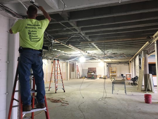 Construction continues on Port Clinton High School's new media center, which is expected to open in late October or early November.