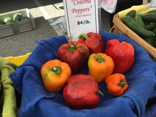 Freshly picked red bell peppers are being sold at New