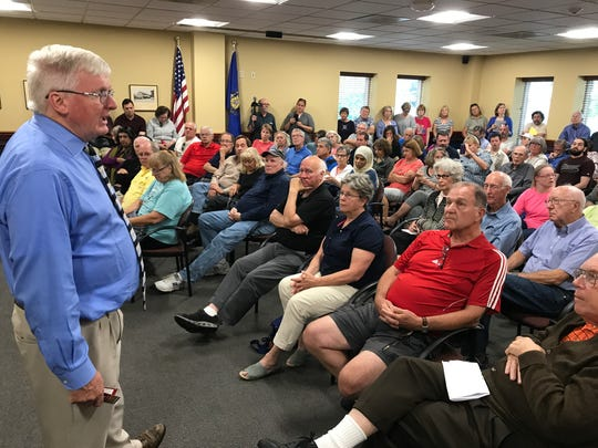 Congressman Glenn Grothman addresses constituents during a town hall meeting Monday, Aug. 28, 2018, at the Frank L. Weyenberg Library in Mequon.