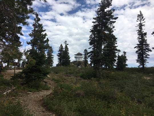 Mills Peak fire lookout as seen from the Mills Peak