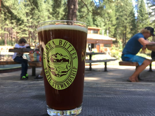 Cold beer at The Brewing Lair of the Lost Sierra in Blairsden, Calif. The brew pub is popular with mountain bikers riding Mills Peak trail. The Sierra Buttes Trail Stewardship is a non-profit organization that builds and maintains mountain biking trails.