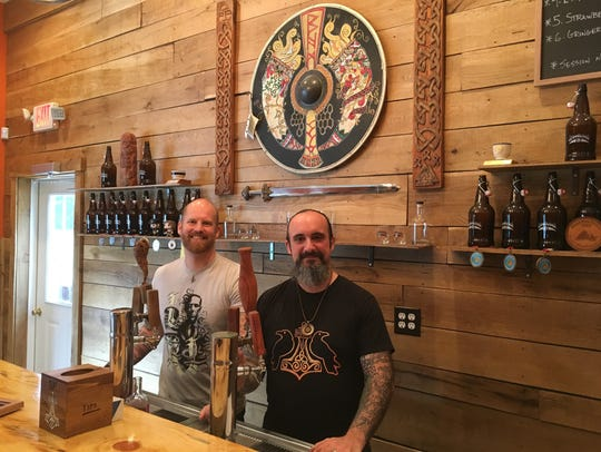 The Brimming Horn Meadery owners J.R. Walker, left,