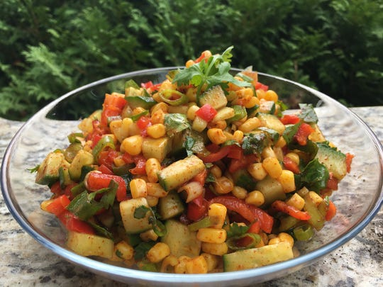 Corn Salad with Cucumbers and Red Peppers