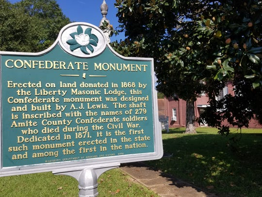 The plaque at the Amite County Confederate Monument
