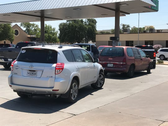 San Angelo residents line up to get gas Thursday, Aug.