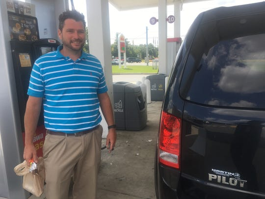 Andrew Osborn of Aston, Pa., was shocked to see a surge in gas prices on Wednesday.