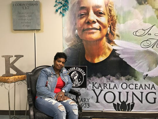 Traci Fant, founder of Freedom Fighters Upstate sits in the waiting area of the emergency aid pantry inspired by her aunt, the late Karla Young.
