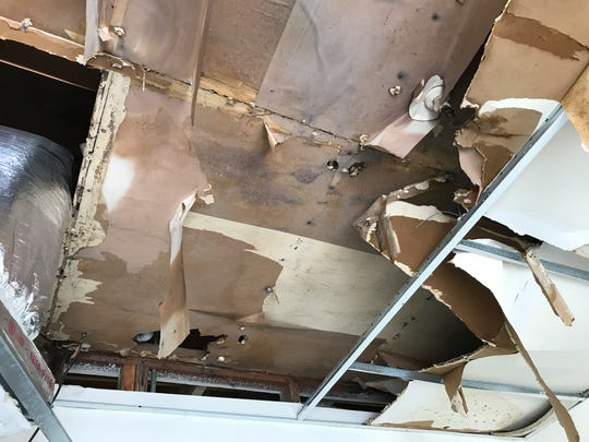 The ceiling of the men's dorms at the Good Samaritan Rescue Mission was damaged during Hurricane Harvey on Aug. 25, 2017.