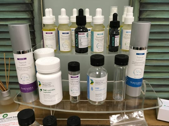 Examples of different medical marijuana products a patient could purchase at a dispensary are seen Wednesday, Aug. 30, 2017 at Southern Comfort Marijuana Clinic in Port St. Lucie.