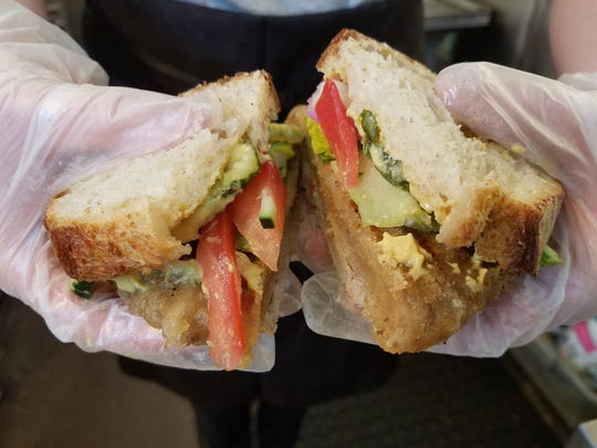 """The meatless breaded """"tenderloin"""" sandwich at Three Carrots. The vegan restaurant opens in fall 2017 in the Fountain Square neighborhood of Indianapolis.."""
