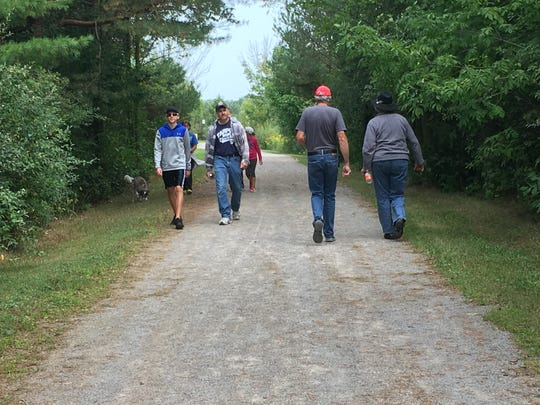 Locals participate in the Trek the Trestle Trail Walk in Avoca. The event was from 9-11 a.m. Monday, Sept. 4, 2017, and started at the Avoca Road Trailhead in downtown Avoca.
