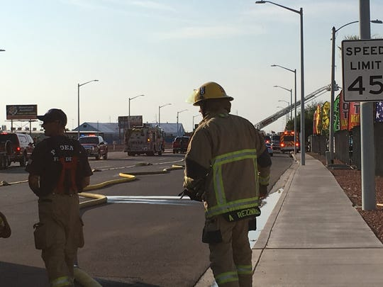 Firefighters battled the 2nd alarm fire at a landscaping company's facility in Phoenix Monday afternoon.